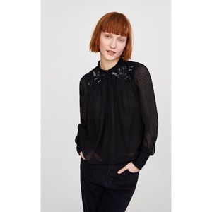 Zara Contrasting Dotted Mesh Top